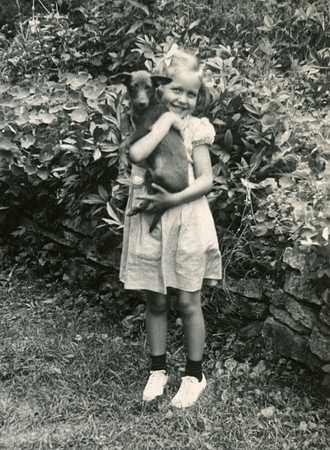 Vintage Girl and Puppy